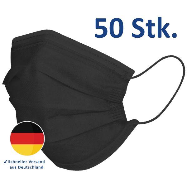 Mundschutz, 3-lagige Einwegmasken, Alltagsmaske schwarz, 50er Box