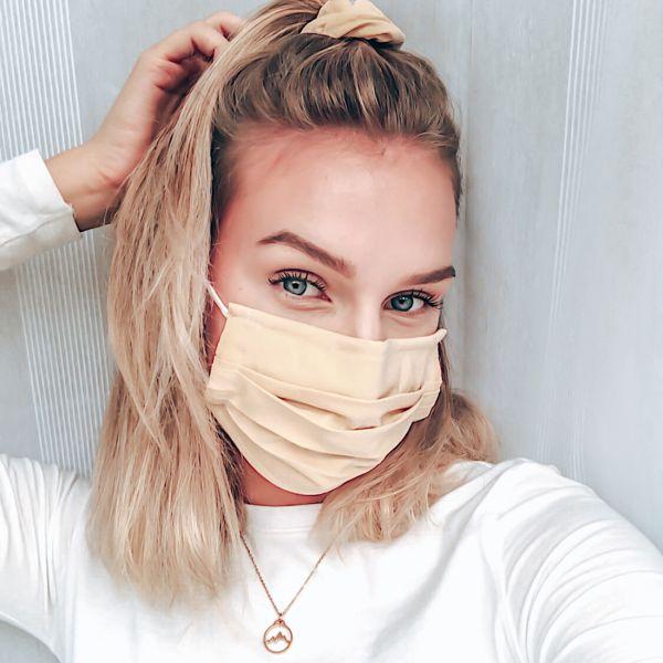 """Maske + Scrunchie """"SAND"""", beige"""